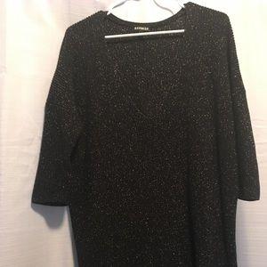 Express V Neck Black Sparkly Loose Fit Sweater L